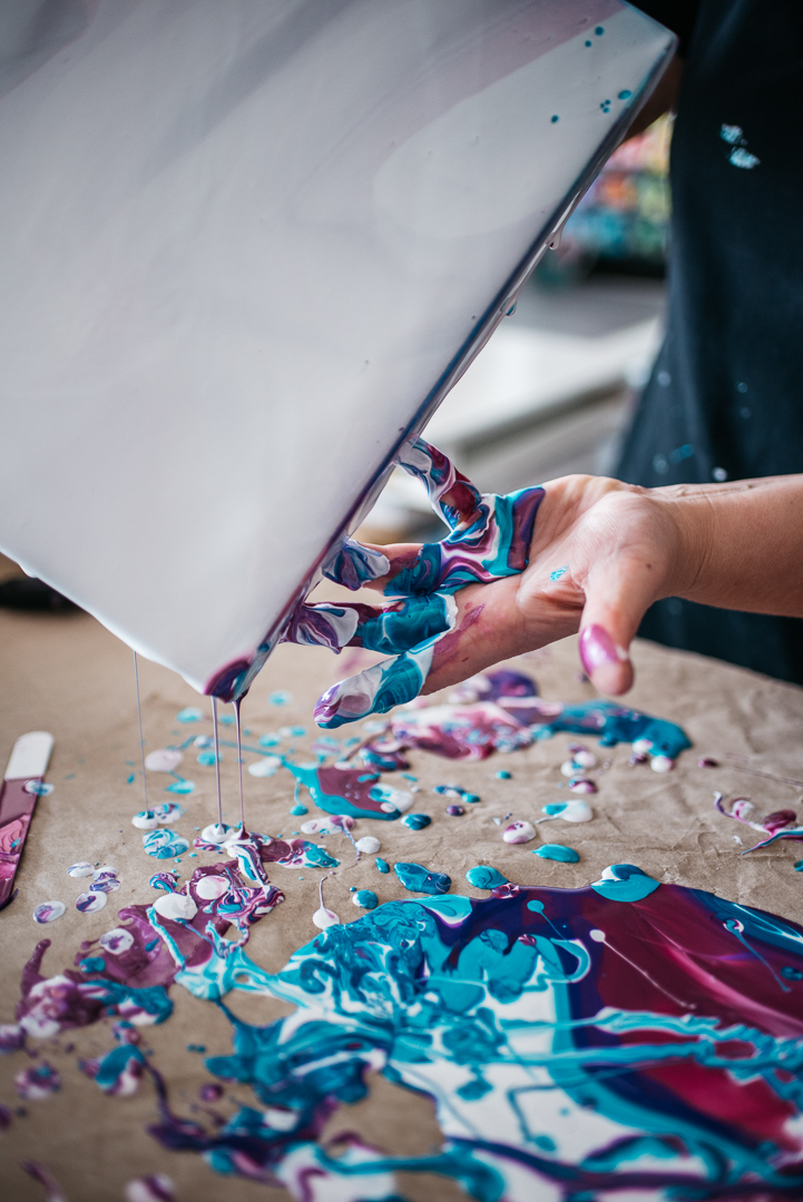 photo of colourful Fluid Art.
